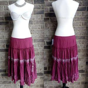 NWT Dkny Boho Ruffle Embroidered Burgundy Skirt